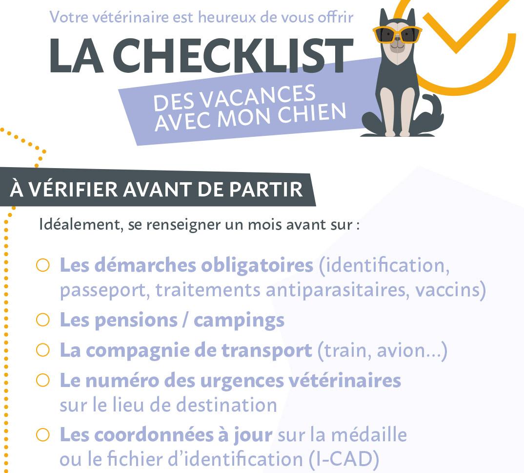 Liste de choses à vérifier avant de partir en vacances avec un chien